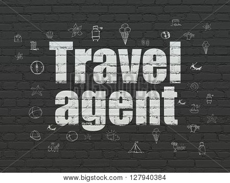 Tourism concept: Painted white text Travel Agent on Black Brick wall background with  Hand Drawn Vacation Icons