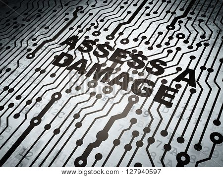 Insurance concept: circuit board with  word Assess A Damage, 3D rendering