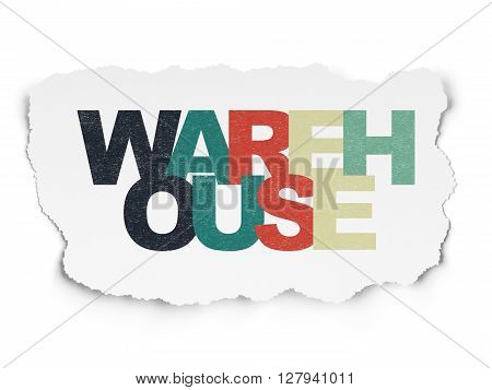 Industry concept: Painted multicolor text Warehouse on Torn Paper background