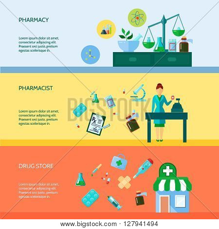 Three flat horizontal banner set with pharmaceutical attributes pharmacist and drugstore vector illustration