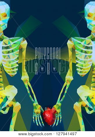 Polygonal skeleton. low poly illustration. Polygonal creative poster