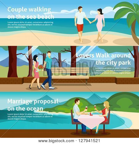 Horizontal banner set with fall in love people acting together in different ways vector illustration