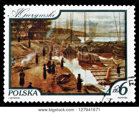 POLAND - CIRCA 1984 : Cancelled postage stamp printed by Poland, that shows painting by Gierymski.