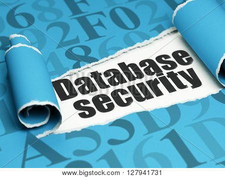 Database concept: black text Database Security under the curled piece of Blue torn paper with  Hexadecimal Code, 3D rendering