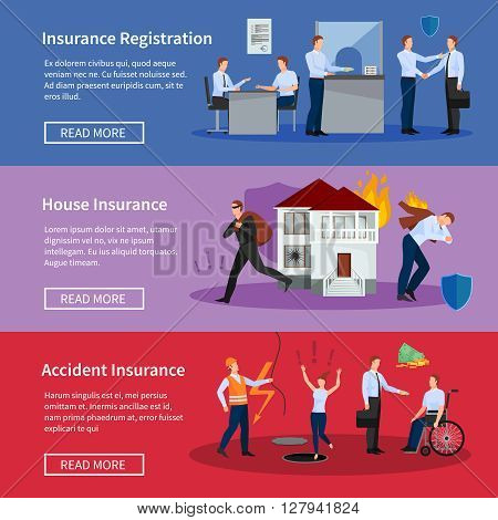 Personal and house insurance banner set with fire theft accidents and workplace injuries isolated vector illustration