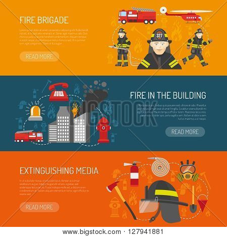 Firefighters 3 flat horizontal banners webpage for information on fire alarm in building abstract isolated vector illustration
