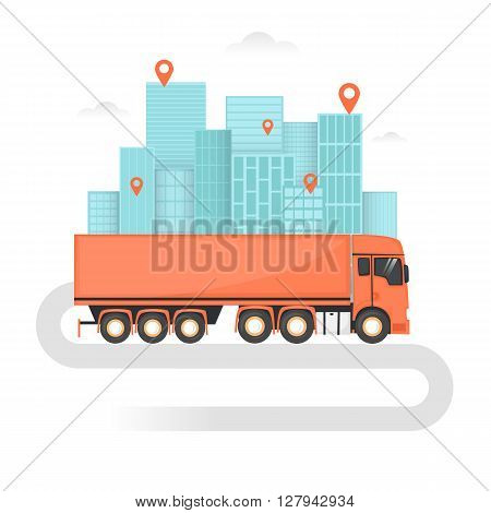 Freight truck, Shipping, Cargo Transportation, Freight, Logistics. Flat design vector illustration.