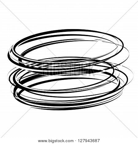 Vector abstract circle shape. Hand drawn sketch lines. Black swirl round shape. Monochrome motion stripe. Isolated power stroke design. Twist outline curves illustration.