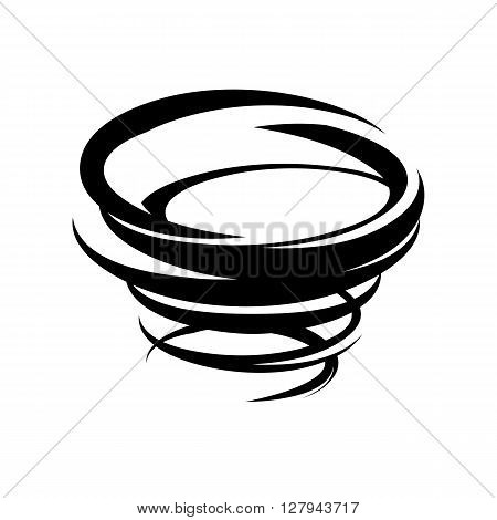 Abstract tornado icon. Vector typhoon symbol. Storm black and white isolated illustration. Weather sign.