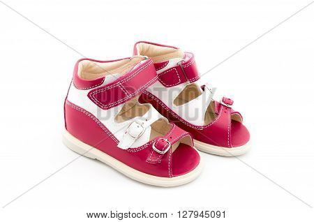 Pair Of Babies Shoes From Natural Leather