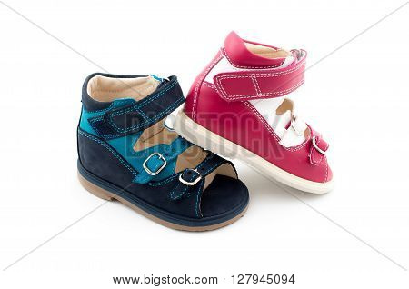 Two Different Colors Of Babies Shoes From Natural Leather