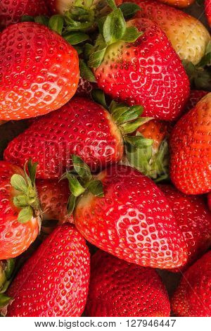 Fresh strawberries. Top view with copy space
