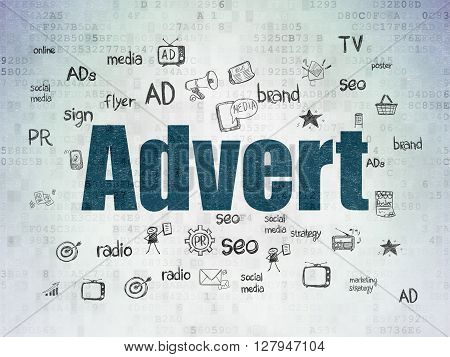 Marketing concept: Painted blue text Advert on Digital Data Paper background with  Hand Drawn Marketing Icons