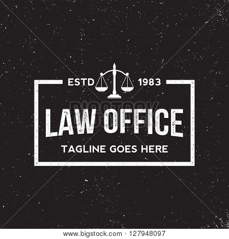 law office badge on grunge black background. vector illustration