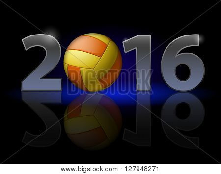 New Year 2016: metal numerals with volleyball instead of zero having weak reflection