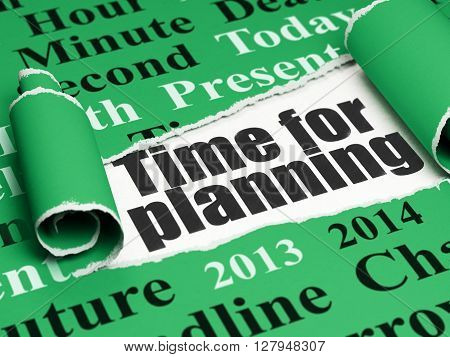 Timeline concept: black text Time for Planning under the curled piece of Green torn paper with  Tag Cloud, 3D rendering