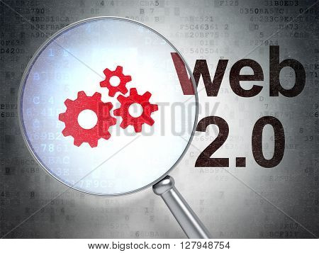 Web development concept: magnifying optical glass with Gears icon and Web 2.0 word on digital background, 3D rendering