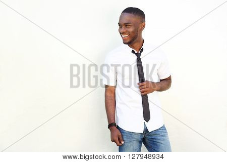 Trendy Young Man In White Shirt And Tie