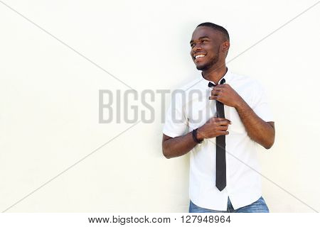 Happy Young African Man In Shirt And Tie