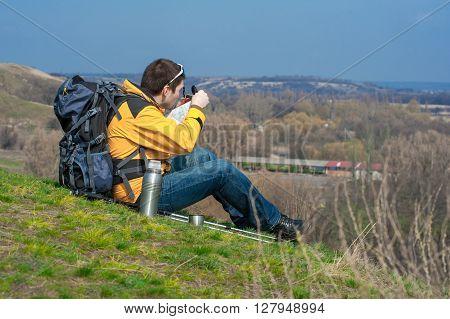 Walking Hiker Looking At Map01