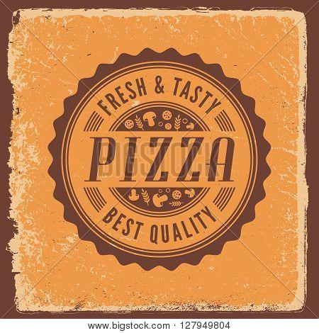 pizzeria vintage emblem. logotype template, vector illustration