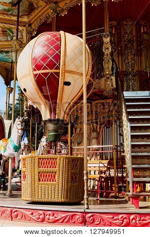 Lovely colorful balloon and merry-go-round in Paris