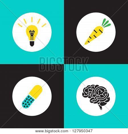 Vector logo brain set. Brain vitamins. Brain health illustration. Vitamins in pill vegetable idea and brain. Brain function icons. Brain work pictogram.