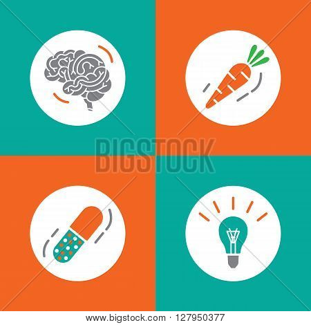 Vector icons brain set. Brain vitamins. Brain health icons. Vitamins in pill vegetable idea and brain. Brain function icons. Brain work icons.