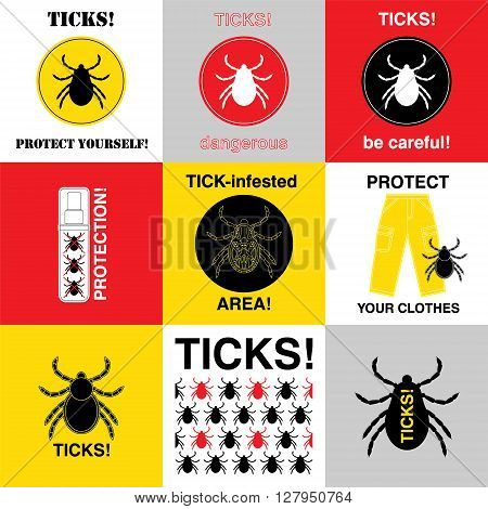 Vector insect tick set. Dangerous tick parasite area. Vector mite beetle. Tick icon isolated. Vector tick bug silhouette. Tick parasite warning sign. Ticks protection. Mite skin parasite.