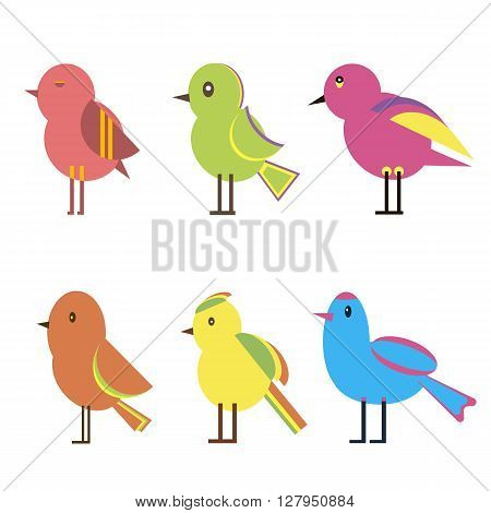 Set of colorful abstract funny birds. Vector illustration flat design collection