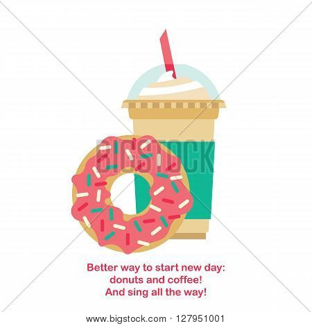 Vector donut and coffee. Vector template coffee-cup with donut. Donut and coffee isolated.