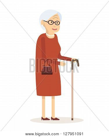 Old woman with cane. Senior lady with glasses walking. Vector illustration. Flat style design. An elderly woman with a handbag and a cane to walk.