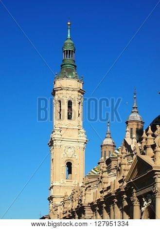 Bell tower of Basilica of Our Lady of the Pillar in Zaragoza Aragon Province Spain