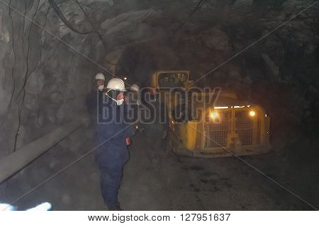Russia Nezhdaninskoe - July 14 2014: Mine for the extraction of gold ore. Working underground.