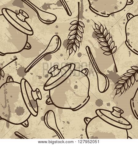 Vector Seamless Pattern With Spikes, Pots And Spoons