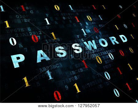 Safety concept: Pixelated blue text Password on Digital wall background with Binary Code