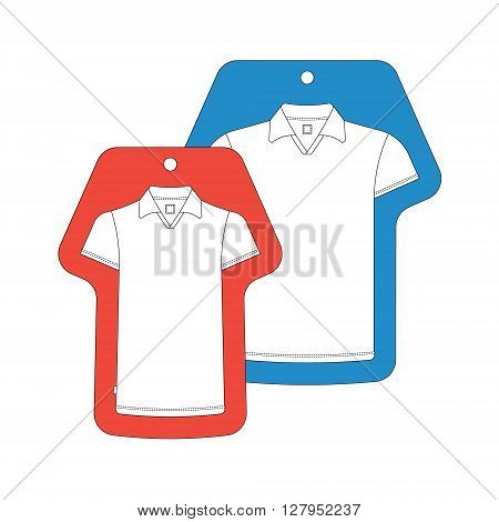 T-shirt template tag. Vector t-shirts tags isolated on white. Cloth tag cloth label.