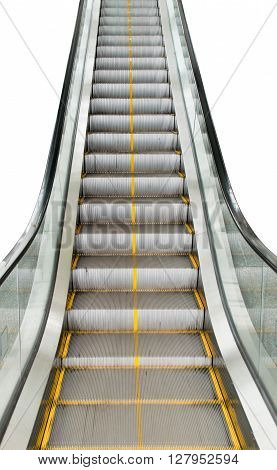 Escalators Stairway To Transport People Isolate On White Background