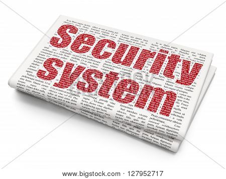 Protection concept: Pixelated red text Security System on Newspaper background, 3D rendering
