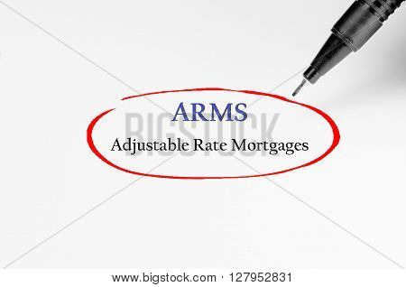 Adjustable-rate Mortgages On White Paper - Business Concept