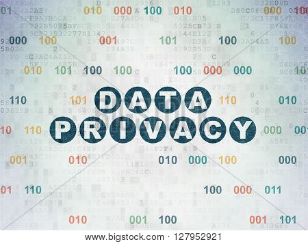 Security concept: Painted blue text Data Privacy on Digital Data Paper background with Binary Code