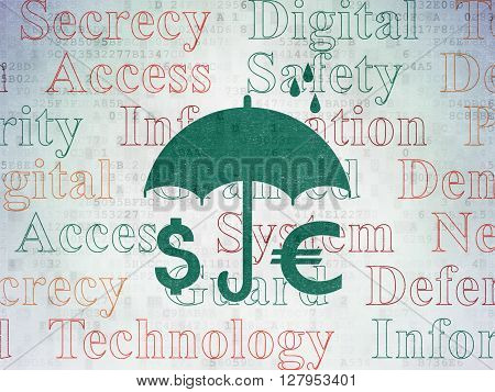 Privacy concept: Painted green Money And Umbrella icon on Digital Data Paper background with  Tag Cloud