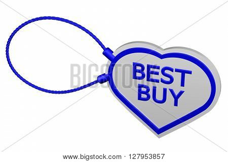 Heart tag best buy isolated on white background. 3D rendering.