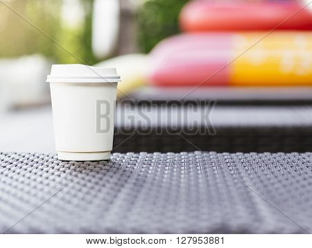 Coffee Cup Paper Blurred Outdoor Summer holiday Backgound