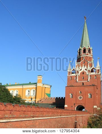 image of one Kremlin tower on sky background