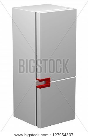 White refrigerator with red handle isolated on white background. 3D rendering.
