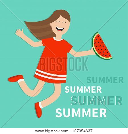 Hello summer greeting card. Girl jumping Happy child jump. Cute cartoon laughing character in red dress holding watermelon slice. Smiling woman. Blue background. Flat design Vector illustration