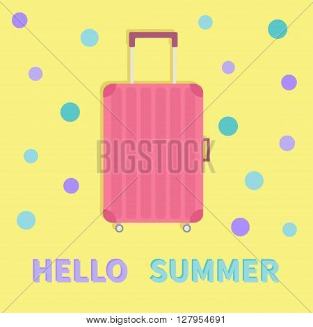 Hello summer. Travel bag suitcase baggage. Pink luggage handbag wheel handle Summer vacation planning Travelling tourism. Passenger luggage case Flat design Yellow background Greeting card Vector