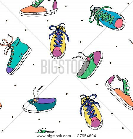 Seamless pattern with sneakers. Hand drawn sport shoes. Vector Illustration