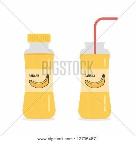 Banana juice, nectar, smoothie in bottles with straw isolated on white background.